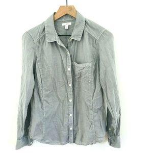 Caslon Gray Cotton Button Up Shirt Medium